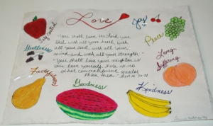 A drawing illustrating the fruit of the Spirit from one of the ladies in jail