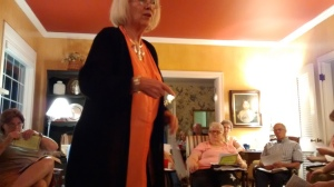 Sylvia Pearce teaching at a mini-conference in the home of Brian and Tandy Coatney